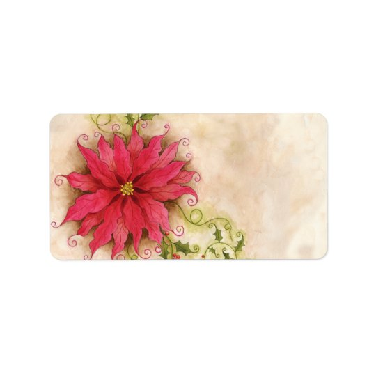 Poinsettia and Holly Address Label