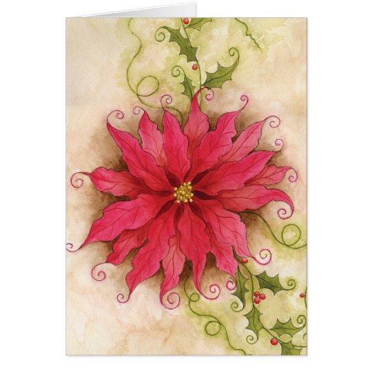 Poinsettia and Holly Card