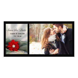 Poinsettia and Pearls Winter Wedding Save the Date Photo Greeting Card