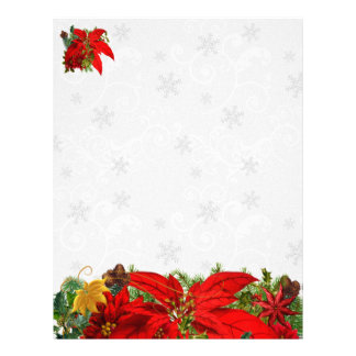 Poinsettia and Snowflake Holiday Paper Custom Letterhead
