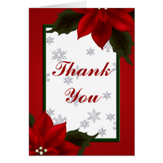 Poinsettia and Snowflake Thank You Note Card