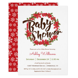 Poinsettia Baby Shower Invitation