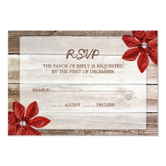 Poinsettia Barn Wood Wedding RSVP Response Card