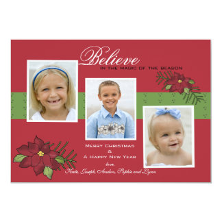 Poinsettia Blooms Photo Holiday Card