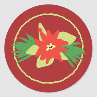 Poinsettia Christmas Flora Stickers