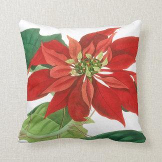 Poinsettia Christmas Floral Throw Pillow