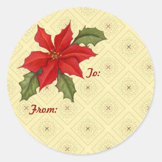 Poinsettia Christmas gold Classic Round Sticker
