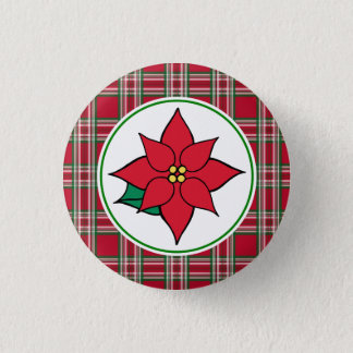 Poinsettia Christmas Holiday Button Pin