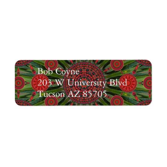 Poinsettia Christmas Mandala Array Mailing Label