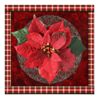 Poinsettia Christmas Party Invitation
