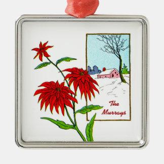 Poinsettia Christmas Silver-Colored Square Ornament