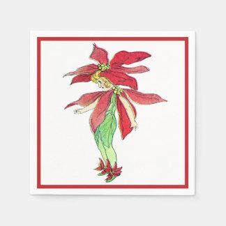 Poinsettia Fairy Paper Napkin