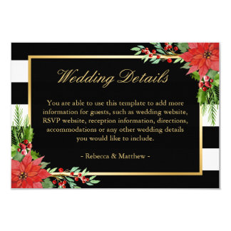 Poinsettia Floral Stripes Wedding Details Insert Card