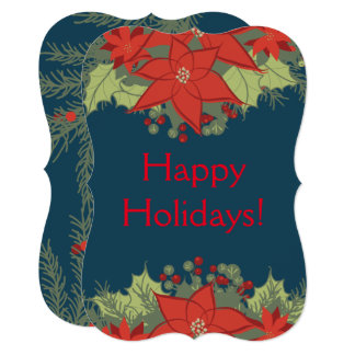 Poinsettia Floral Swag and Pine Branches Christmas Card