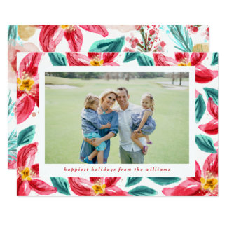 Poinsettia Frame Holiday Photo Card in Red