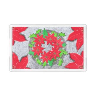 Poinsettia & Frozen Ice Background Acrylic Tray