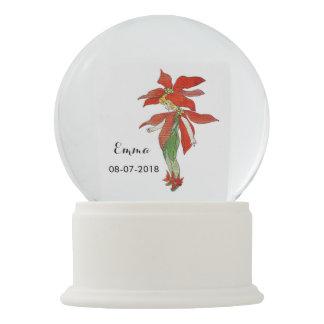 Poinsettia Girl Cute Flower Child Floral Nursery Snow Globe