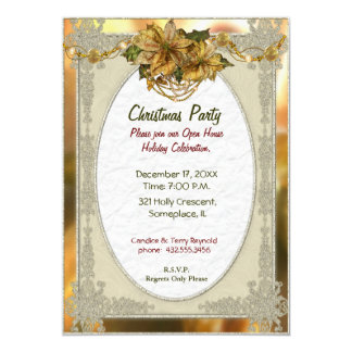 Poinsettia Gold Christmas Invitation
