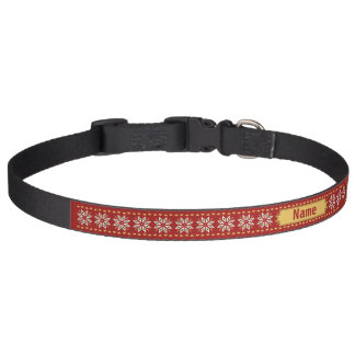 poinsettia hearts winter red Personalise-It Dog Collar