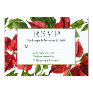 Poinsettia Holiday Christmas RSVP Wedding Response Card