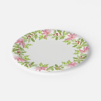 Poinsettia Holiday Wreath Watercolor Paper Plate