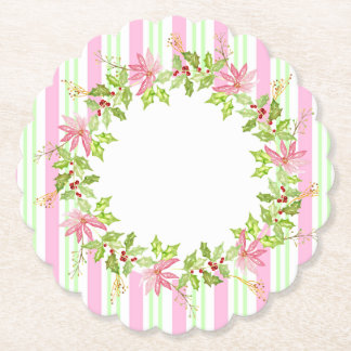 Poinsettia Holiday Wreath with Stripes Paper Coaster