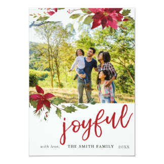 Poinsettia Joyful Christmas Photo Holiday Card