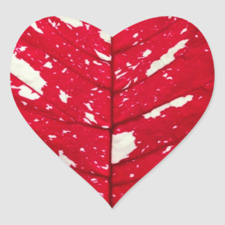 Poinsettia Leaf Texture Heart Stickers