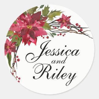 Poinsettia Leaves & Berries Monogram Classic Round Sticker