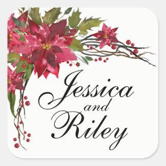 Poinsettia Leaves & Berries Monogram Square Sticker