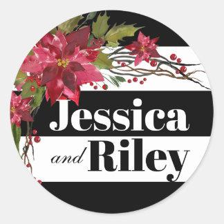 Poinsettia Leaves & Berries Monogram Stripes Classic Round Sticker