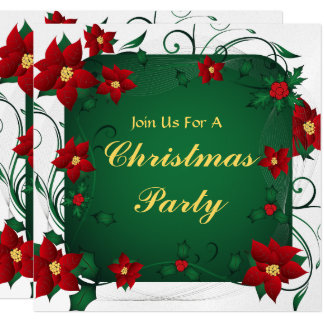 """Poinsettia Merry Christmas Party 5.25"""" Square Invitation Card"""