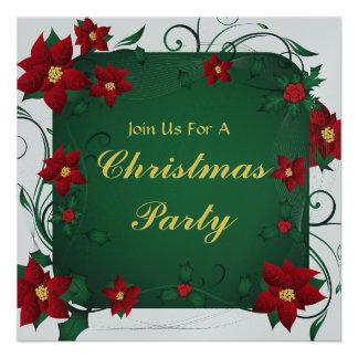 Poinsettia Merry Christmas Party Invitation