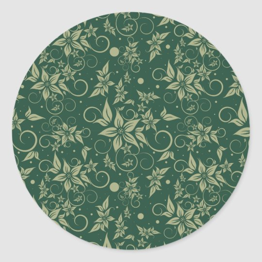 Poinsettia on Green Background Classic Round Sticker