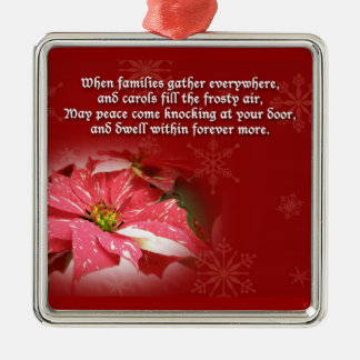 Poinsettia on Red With Poem Metal Ornament
