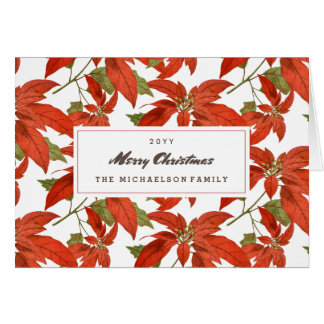 Poinsettia Pattern Christmas Card