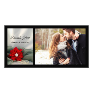 Poinsettia Pearls Green Winter Wedding Thank You Photo Card Template