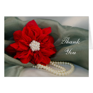 Poinsettia Pearls on Green Bridesmaid Thank You Card