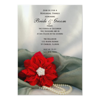 Poinsettia Pearls on Green Winter Rehearsal Dinner Card