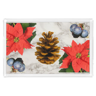 Poinsettia, Pine-Cone & Berries Marble Print Tray