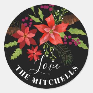 Poinsettia Pine Mistletoe Holly Christmas Gift Classic Round Sticker