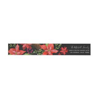 Poinsettia Pine Mistletoe Holly Christmas Skinny Wrap Around Label