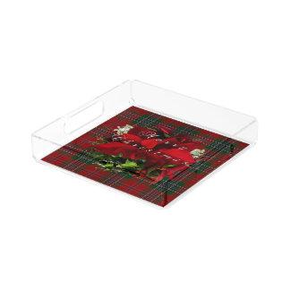 Poinsettia Plaid Christmas Acrylic Tray