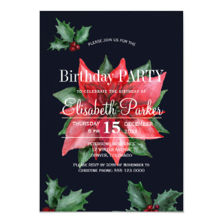 Poinsettia red green dark blue birthday party card