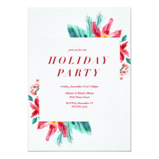 Poinsettia Red holiday party invitation
