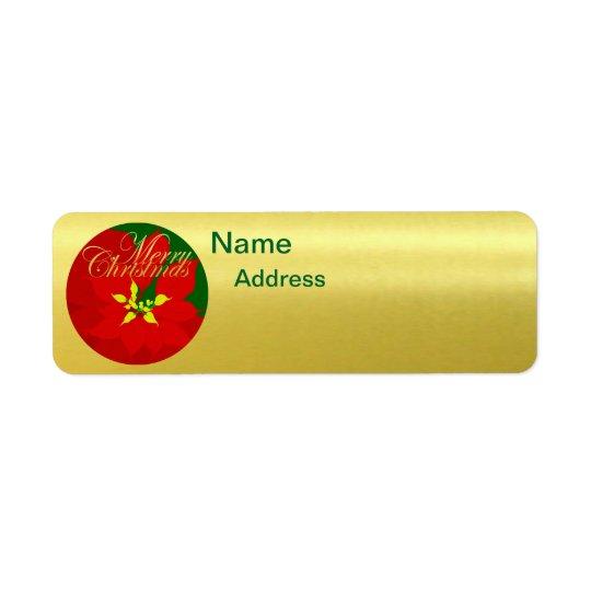 Poinsettia Return Address Label