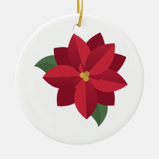 Poinsettia Round Ceramic Ornament