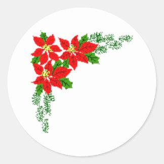 poinsettia round sticker