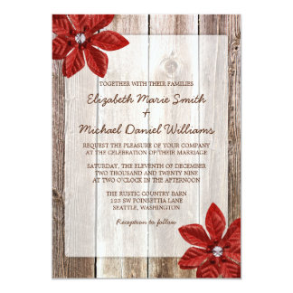 Poinsettia Rustic Barn Wood Wedding Invitations