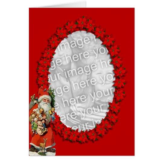 Poinsettia Santa Card